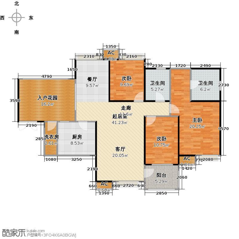 新世界恒大华府138.96㎡A301 户型3室2厅2卫
