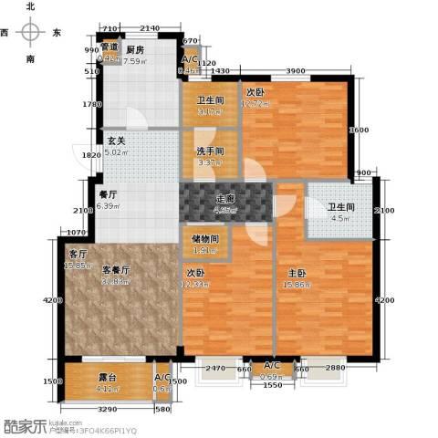 缇香漫城3室1厅2卫1厨127.00㎡户型图