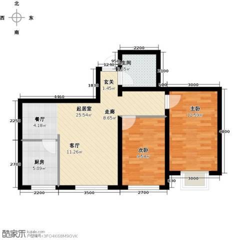 花样年华2室0厅1卫1厨76.00㎡户型图