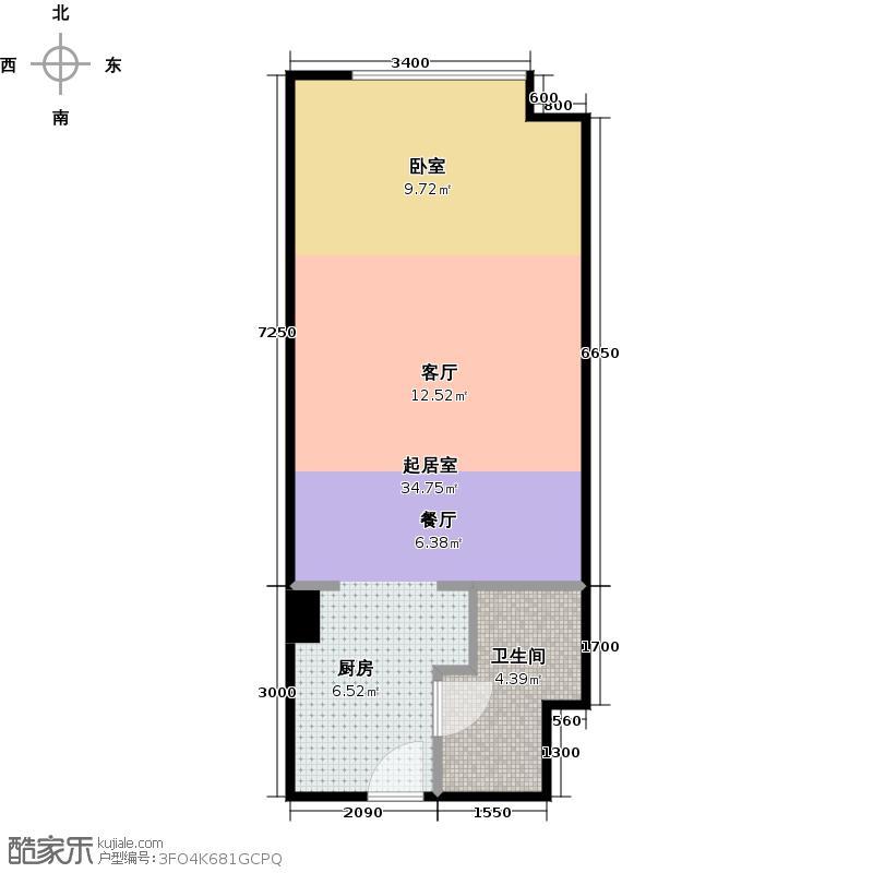 上方港景57.74㎡一室一厅户型