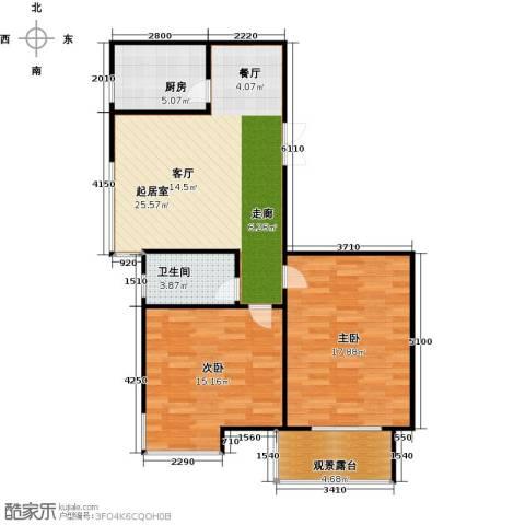 中天富城2室0厅1卫1厨77.00㎡户型图