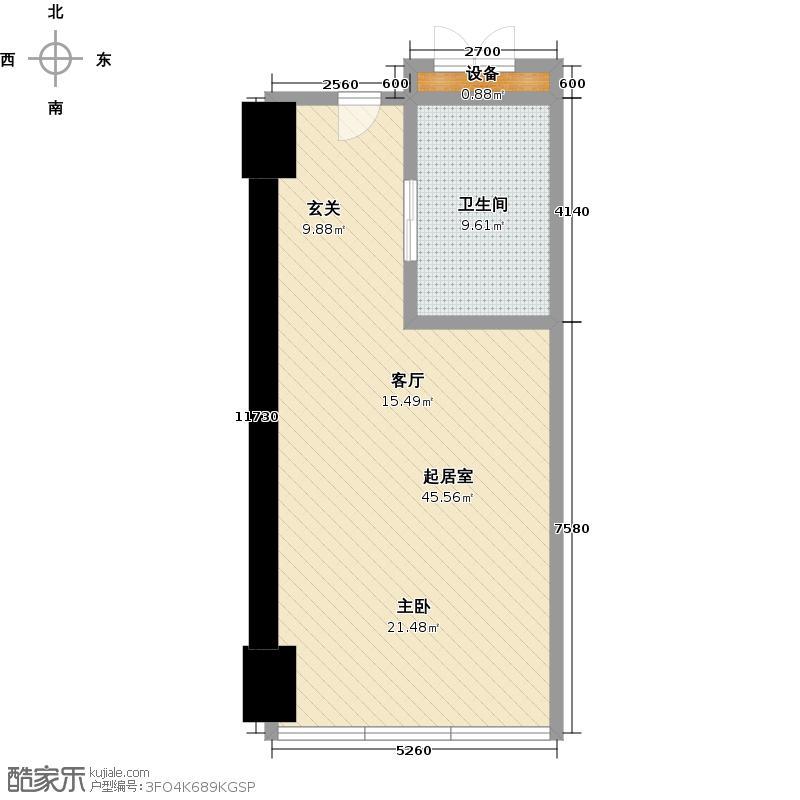 世茂锦绣长江64.86㎡2号房户型1室1厅1卫1厨户型QQ