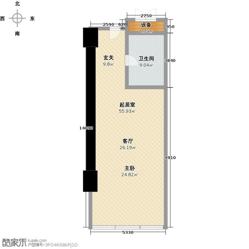 世茂锦绣长江76.48㎡6号房户型1室1厅1卫1厨户型QQ