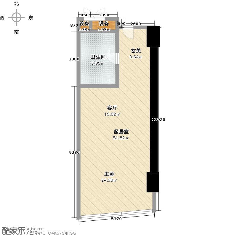 世茂锦绣长江72.01㎡9号房户型1室1厅1卫1厨户型QQ