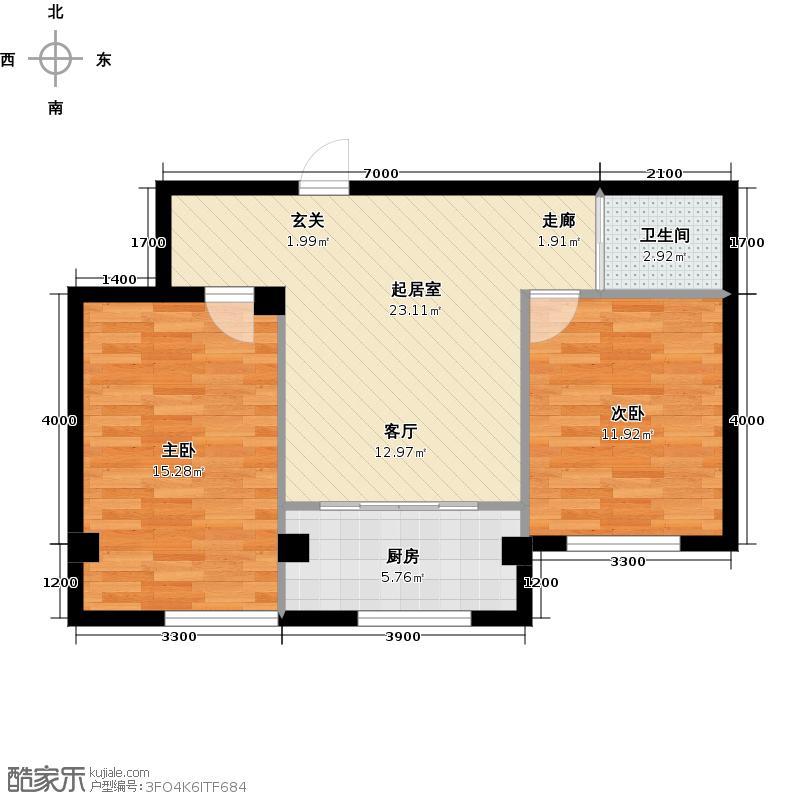 蓝山国际QQ户型2室1卫1厨