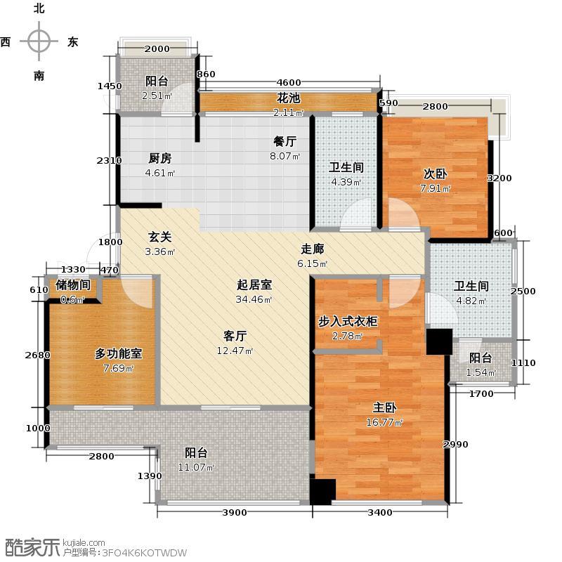 中铁子悦薹109.73㎡A户型两室两厅+多功能房户型2室2厅2卫