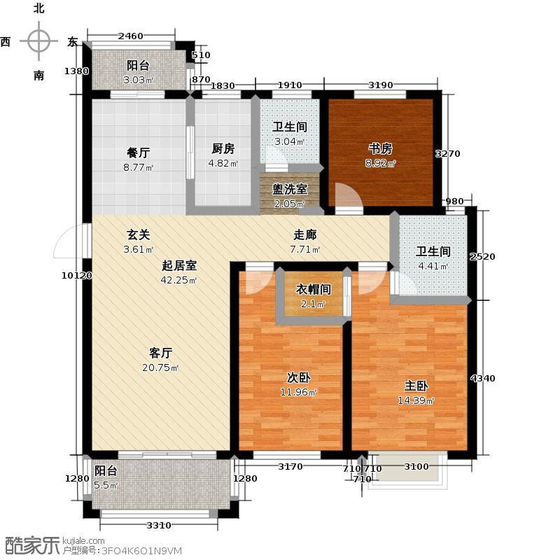东方润景117.83㎡D2户型3室2厅3卫