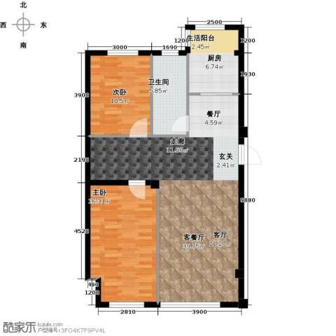 蓝山国际2室1厅1卫1厨109.00㎡户型图