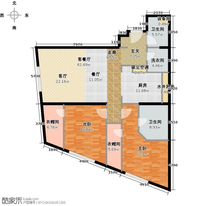 新地国际公寓151.00㎡A户型2室2厅2卫