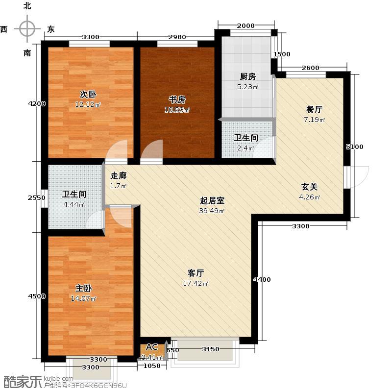 依云首府128.34㎡F户型3室2厅2卫户型3室2厅2卫QQ
