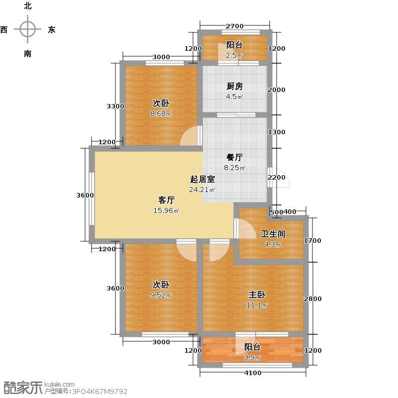 顺海香堤岛2#楼c端户型3室1厅1卫