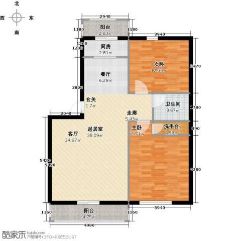 金华学府2室0厅1卫1厨91.00㎡户型图