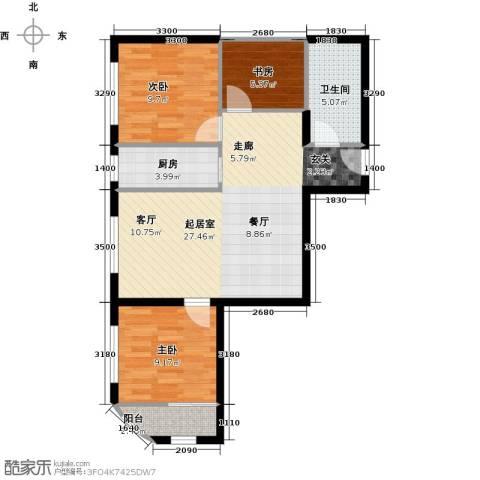 凤城国际广场3室0厅1卫1厨71.13㎡户型图