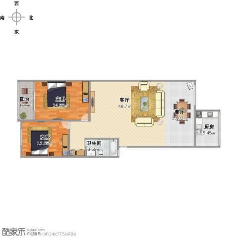 华信路单位宿舍2室1厅1卫1厨115.00㎡户型图