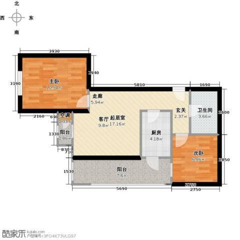 先锋领寓2室0厅1卫1厨59.00㎡户型图