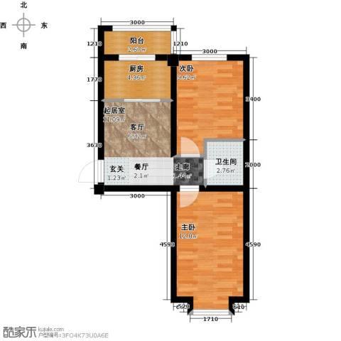 兴盛景悦蓝湾2室0厅1卫1厨63.00㎡户型图