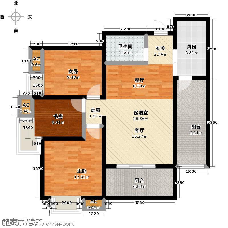 华洲城领誉98.01㎡华洲城3#C户型3室2厅1卫1厨 98.01㎡户型3室2厅1卫