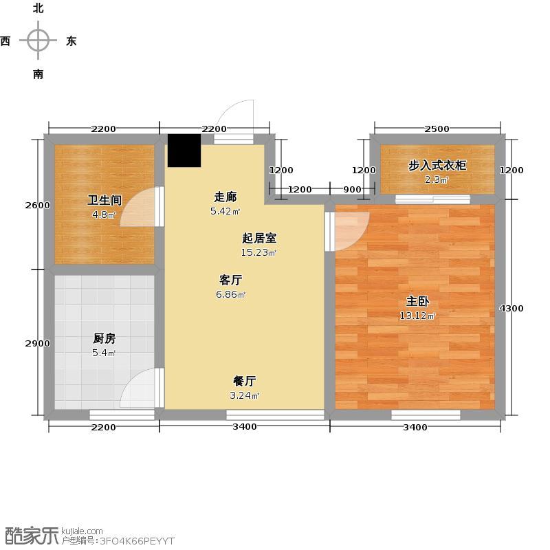 顺海香堤岛1#楼B户型1室1厅1卫