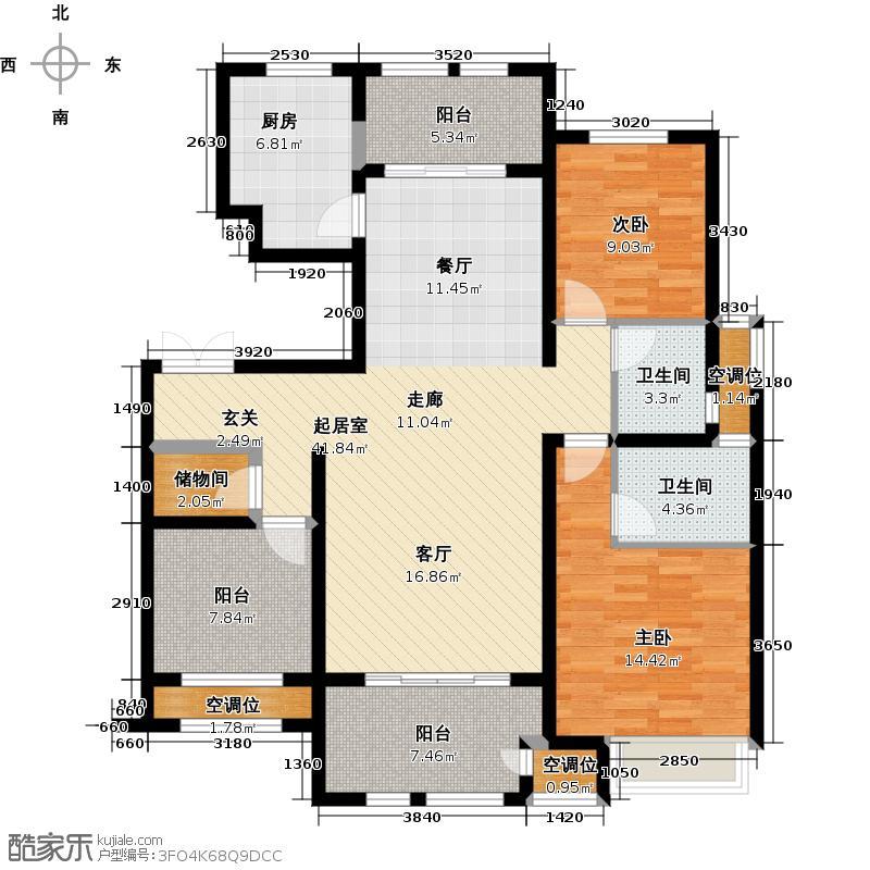 万骏金域丹堤124.00㎡G户型124平米户型3室2厅2卫
