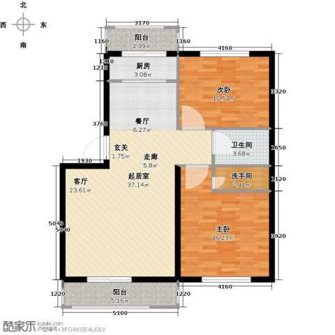 金华学府2室0厅1卫1厨93.00㎡户型图