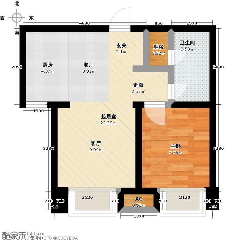颐和星海61.44㎡C户型1-2#/3#/4#/5# 一室二厅一卫户型1室2厅1卫