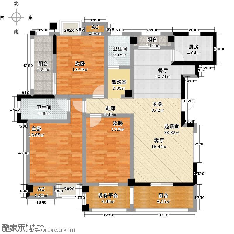 水墨清华135.00㎡C2户型三室两厅两卫户型3室2厅-T