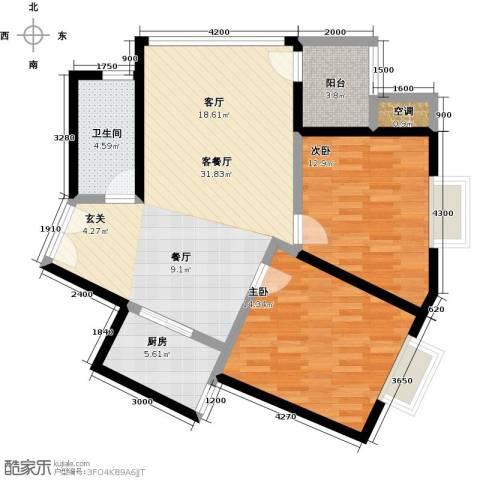 龙腾随园2室1厅1卫1厨104.00㎡户型图