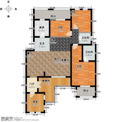 加州玫瑰园3室1厅2卫1厨156.00㎡户型图