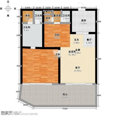 绿城蓝湾小镇1室0厅3卫1厨89.56㎡户型图