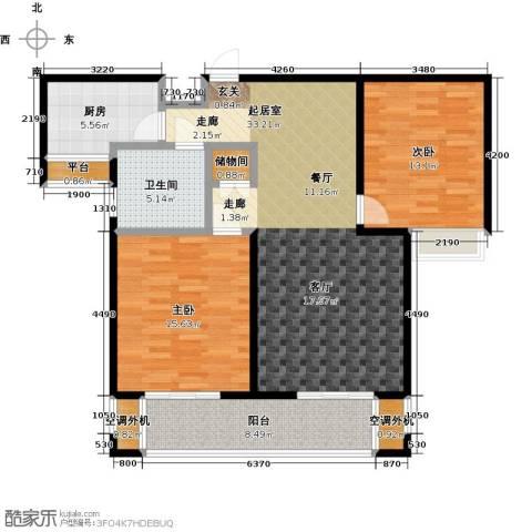 华仁凤凰城2室0厅1卫1厨104.00㎡户型图
