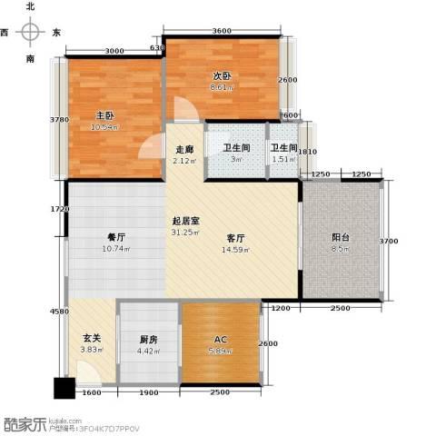 中铁子悦薹2室0厅2卫1厨73.72㎡户型图
