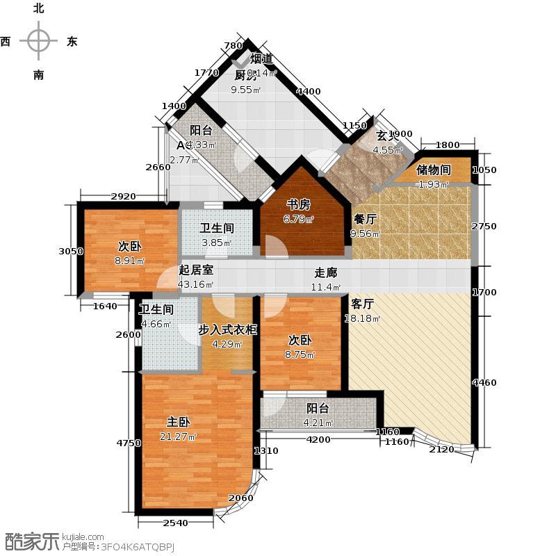 仁恒海河广场1号楼 D-4户型 四室二厅二卫户型
