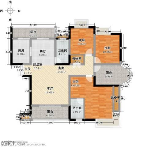 锦上华庭铭邸3室0厅2卫1厨122.00㎡户型图