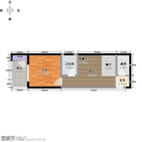 金裕�顶1室1厅1卫1厨60.00㎡户型图