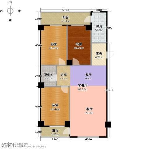 南山学府1室1厅1卫1厨130.00㎡户型图