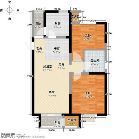 天房美域豪庭2室0厅1卫1厨100.00㎡户型图