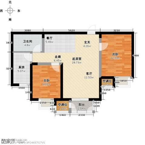 天房美域豪庭2室0厅1卫1厨93.00㎡户型图