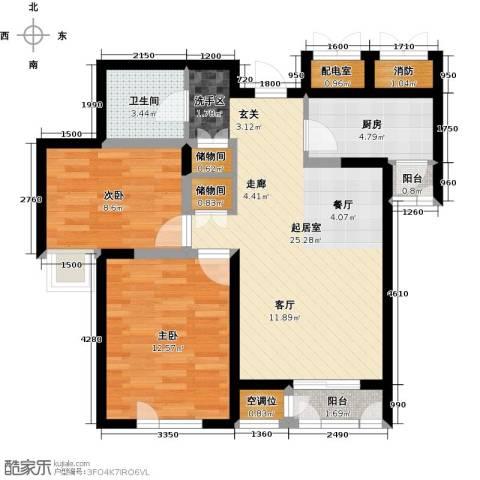 天房美域豪庭2室0厅1卫1厨91.00㎡户型图