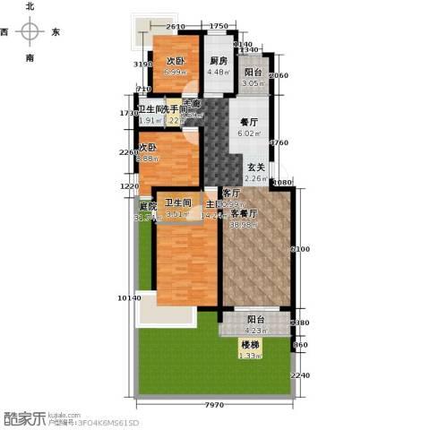 朗润春天3室1厅2卫1厨135.00㎡户型图