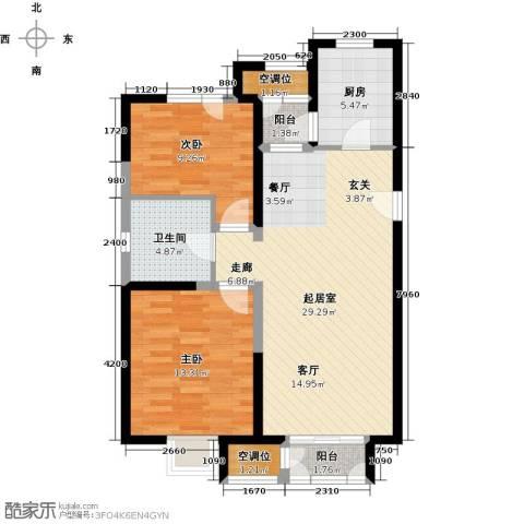 天房美域豪庭2室0厅1卫1厨98.00㎡户型图