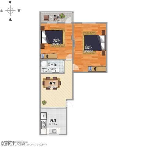 双菱新村2室1厅1卫1厨66.00㎡户型图