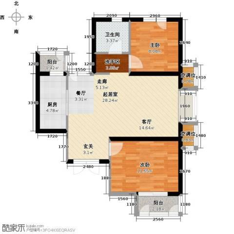天房美域豪庭2室0厅1卫1厨89.00㎡户型图