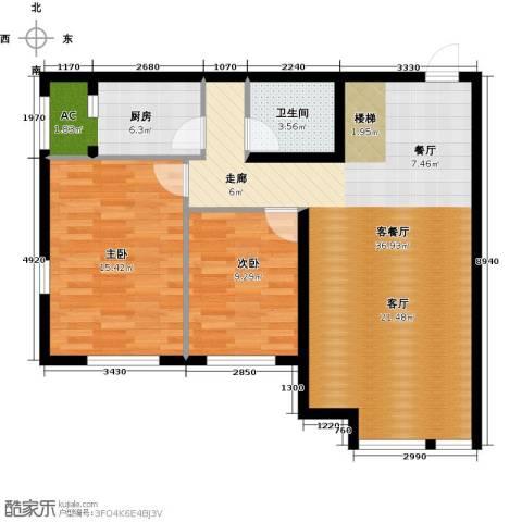 保利金香槟2室1厅1卫1厨94.00㎡户型图