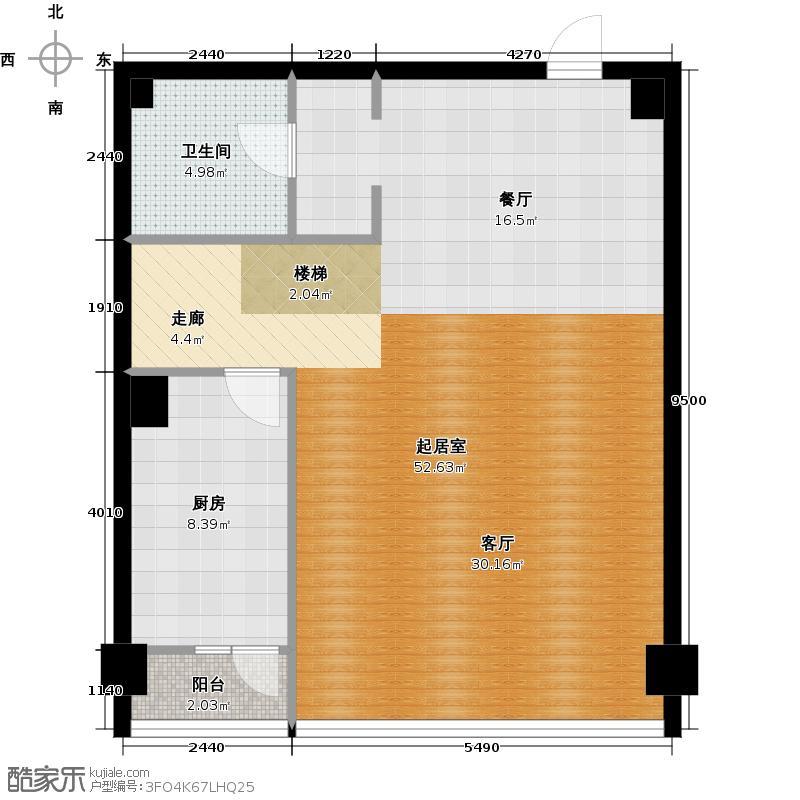 星海大观二室半二厅二卫 98.33㎡户型