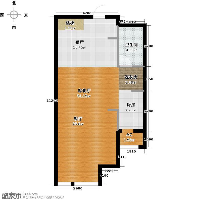 保利金香槟72.31㎡L5户型二室二厅二卫(一层)户型2室2厅2卫