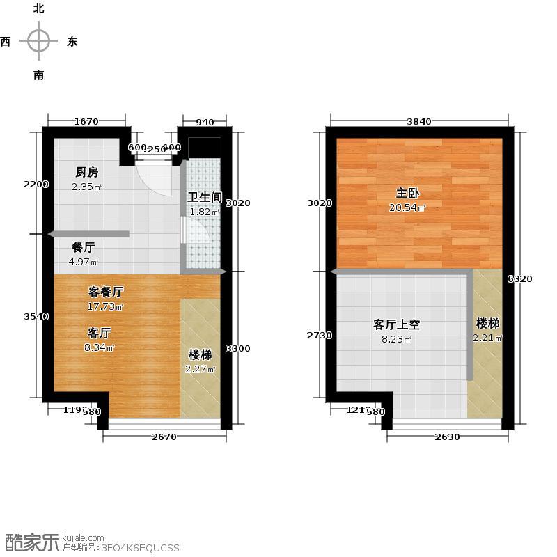 BOBO悠乐城29.38㎡公寓O户带夹层户型1室1厅1卫