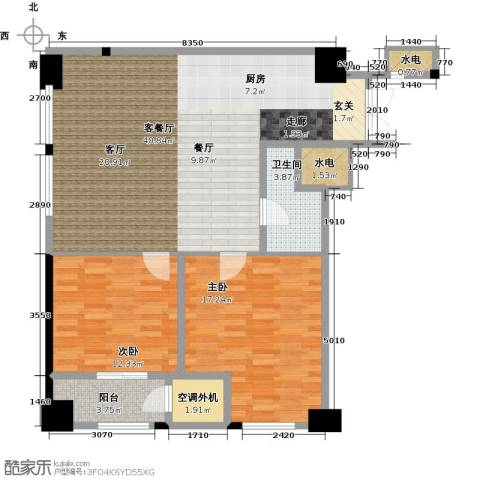 新城帝景2室1厅1卫0厨91.00㎡户型图