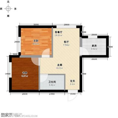 凯荣禧乐都2室1厅1卫1厨58.00㎡户型图