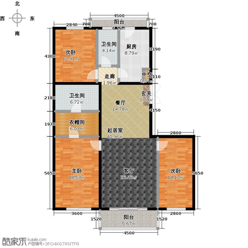 东润财智公馆152.00㎡E户型152平米三室两厅两卫户型3室2厅2卫