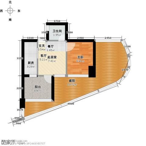 万泽国际1室0厅1卫1厨52.00㎡户型图